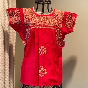 Embroidered Mexican Blouse, Red and White
